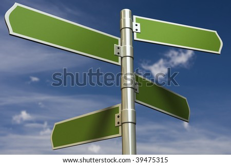 3D render of signs in front of blue sky (put in your own text)