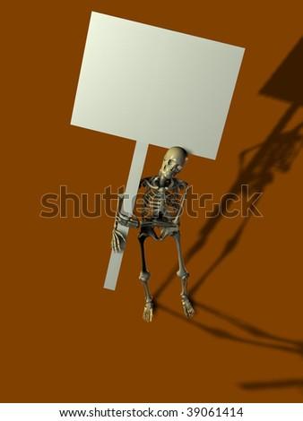 3d render of skeleton holding up a blank sign