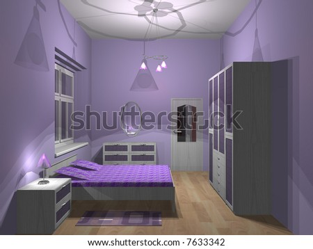 3d Render Of Small Purple Bedroom Stock Photo 7633342 : Shutterstock