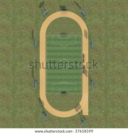 3D Render of soccer field and athletics track