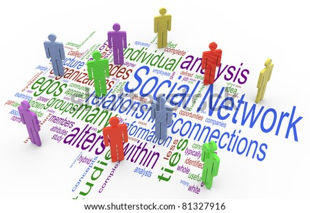 3d render of social network concept on the background of 'social network' wordcloud