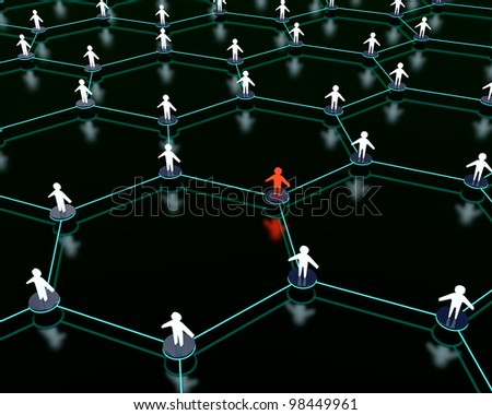 3d render of social network with one person standing out from the crowd.