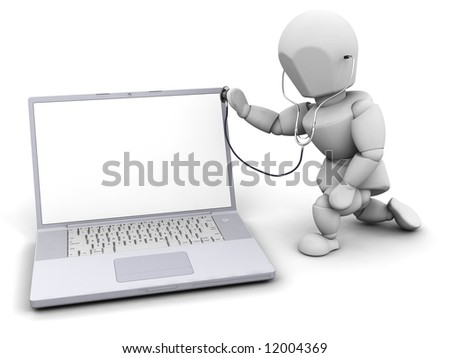 3D render of someone checking a computer