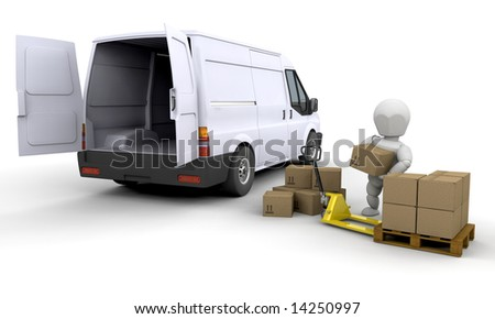 3D render of someone unloading a van