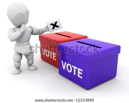 3D render of someone voting - stock photo