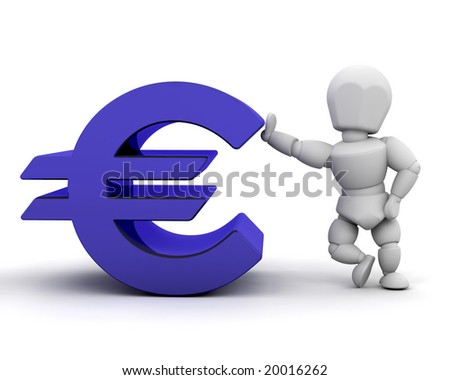 3D render of someone with Euro sign