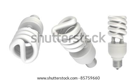 3d render of  spiral energy saving fluorescent light bulb isolated on white