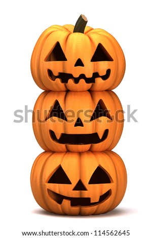 3d render of stacked Jack 0 Lanterns