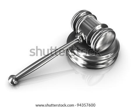 3d render of steel court room gavel