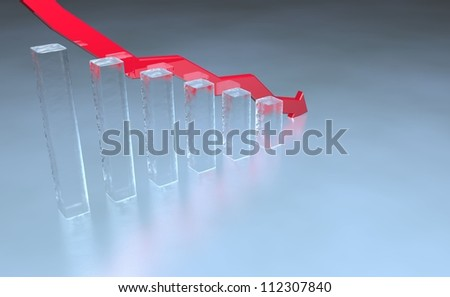3D render of stock market bar chart in ice with red down pointing arrow