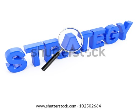 3d render of strategy concept with magnifying glass