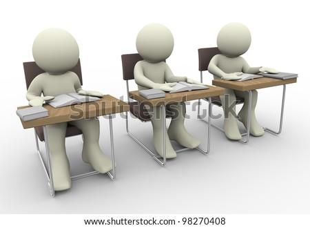 3d render of student in class room