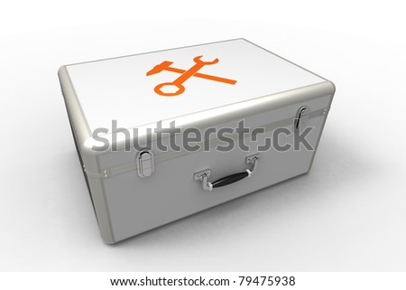 3d render of  suitcase for tools on a white background