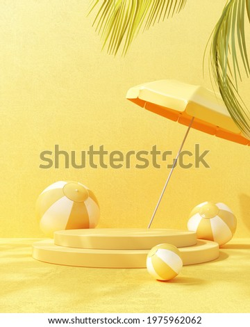 3D render of summer podium, showcases with beach balls and an umbrella on yellow background. Fun bright illustration for advertising summer products, sunscreen products, relaxation and vacations.
