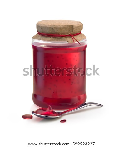 3d render of sweet berry jam in vintage glass jar covered with craft paper cap, and a filled spoon with few drops on the floor. Isolated on white background.