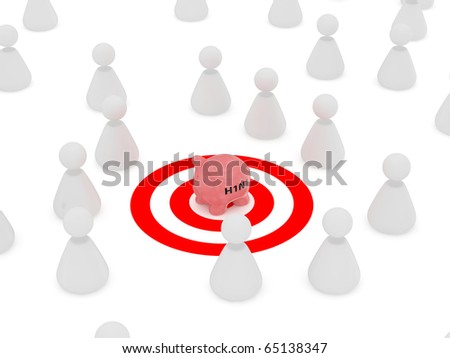 3d render of swine flu and peoples arround on white background