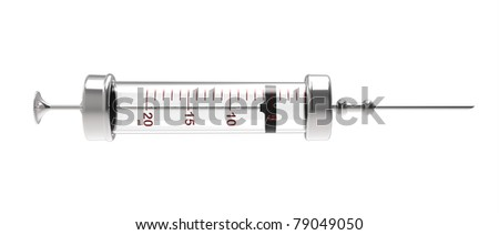 3d render of  syringe with a needle on a white background