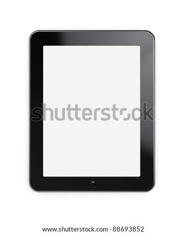3d render of tablet pc with blank screen