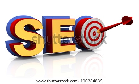 3d render of target seo - search engine optimization