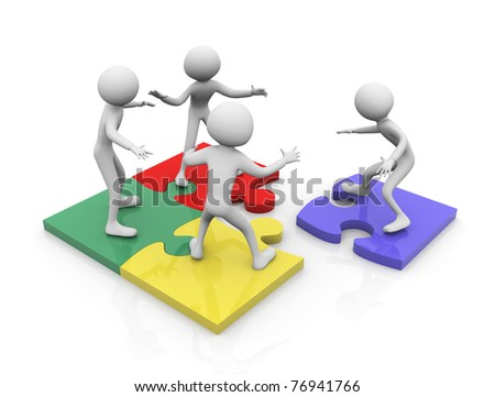 3d render of team work concept. Men working together on puzzle pieces
