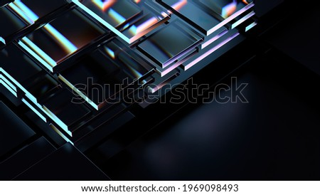 3d render of technology background with glass dispersion effect. Technology concept. Roughness blurred glass structure.