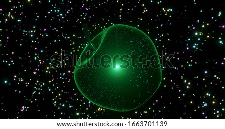 3d render of the concept of gravity with a falling apple in space Foto stock ©