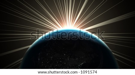 3D render of the earth with sunlight rays