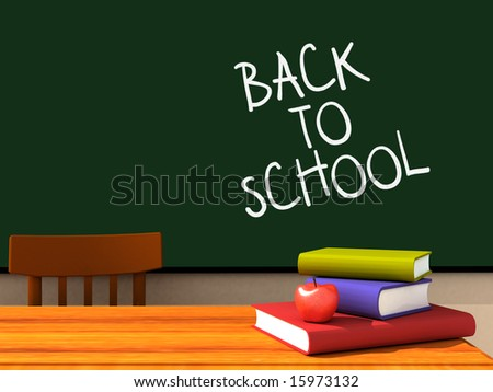 3D render of the inside of a classroom with back to school written on the chalkboard