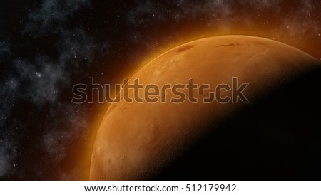3D render of the planet Mars in space with stars  #512179942