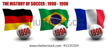 3D render of the teams that won the world's premier soccer tournament from 1990 to 1998. Flag and ball depicted. Seven images in total in this series