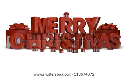 3d render of the text merry christmas - stock photo