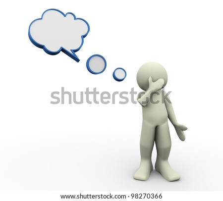 3d render of thinking man with speech bubble. 3d illustration of human character