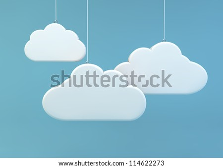 3d render of three clouds