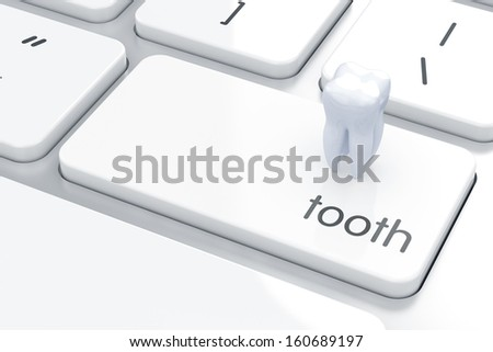 3D render of tooth icon on the keyboard Dental concept