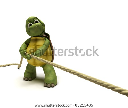 3D render of Tortoise pulling on a rope