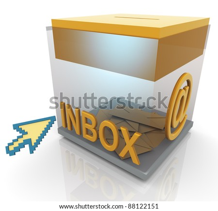 3d render of transparent inbox and mouse pointer