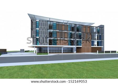 3D render of tropical modern building