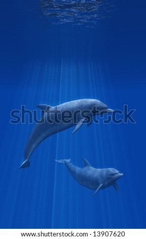 3D render of two dolphins undersea.