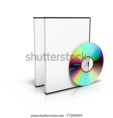 3D render of two dvd boxes with disc on white background