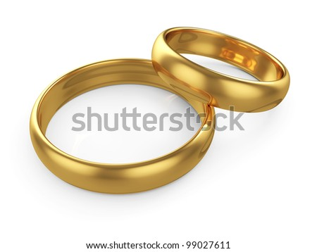 3d render of two wedding gold rings isolated on white background