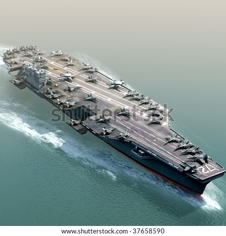 3D Render of US Navy Aircraft Carrier - stock photo
