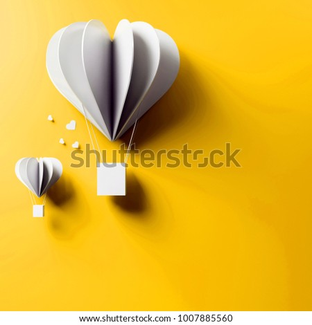 3D render of valentine's day card. Set of beautiful white air balloons card on gold background with clear shadow #1007885560