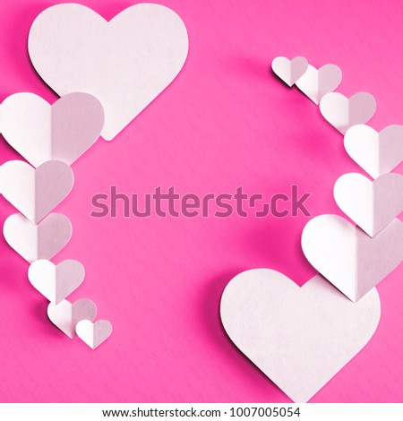 3D render of valentine's day card. Set of shiny snow white paper hearts cards on deep light pink background with clear shadow #1007005054