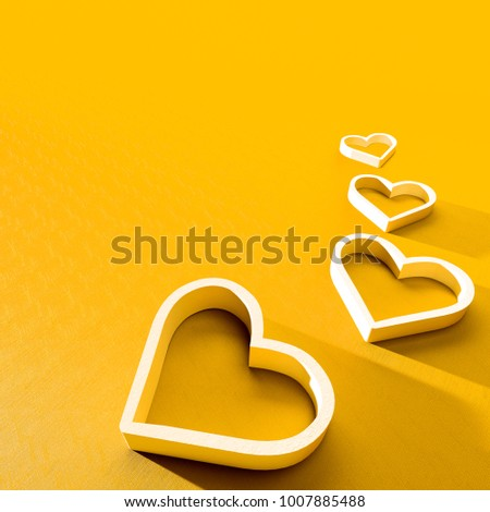 3D render of valentine's day card. Set of white plastic hearts card on gold background with clear shadow #1007885488