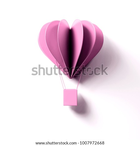 3D render of valentine's day card. Single decorative snow pink air balloons card on white background with clear shadow #1007972668