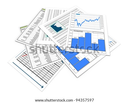 3d render of various financial reports and sheets