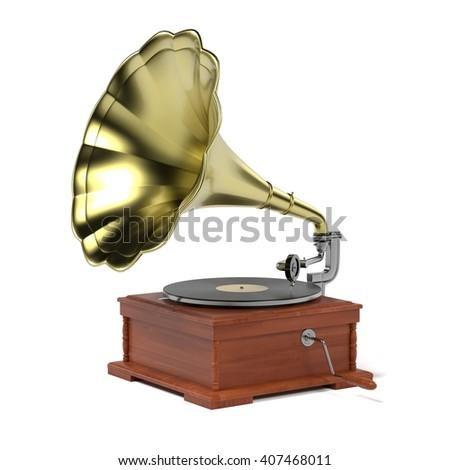 3d render of vintage gramophone #407468011