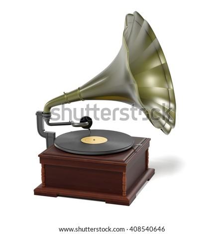 3d render of vintage gramophone #408540646
