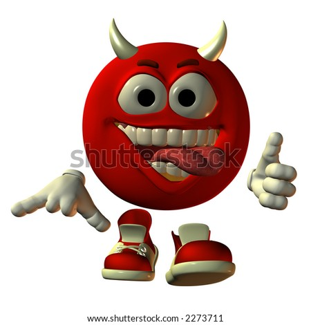 3D render of virtual model Emotiguy as zany, grinning red devil giving a thumbs up with his tongue hanging out.