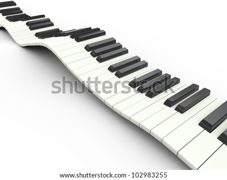3d render of wavy piano musical keyboard